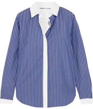 Sandy Liang - Enzo Open-back Ruffled Striped Cotton-poplin Shirt - Blue
