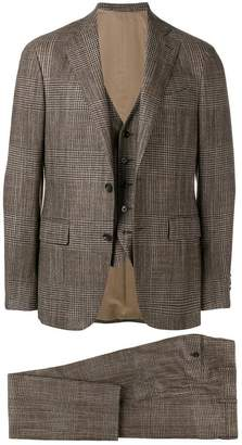 Lardini checked tailored three-piece suit