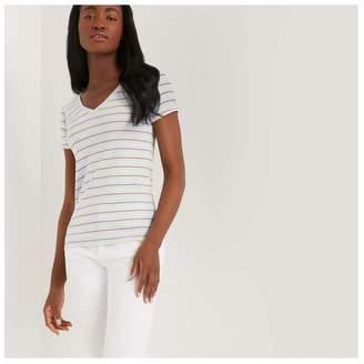 Joe Fresh Women's Stripe V-Neck Tee, Pale Blue (Size L)