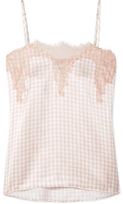 CAMI NYC The Sweetheart Lace-trimmed Gingham Silk-charmeuse Camisole - Blush