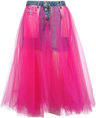 4fe5ed5b32 Taverniti So Ben Unravel Project Unravel Denim Skirt Tulle
