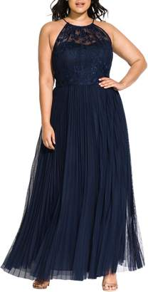City Chic Angelic Embroidered Tulle Gown