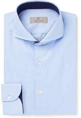 Canali Light-Blue Slim-Fit Cutaway-Collar Puppytooth Cotton Shirt