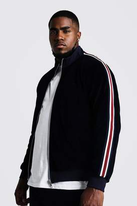 boohoo Big & Tall Velour Jacket With Side Tape