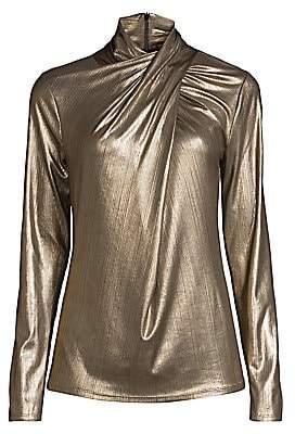 Elie Tahari Women's Keilani Knotted Metallic Blouse