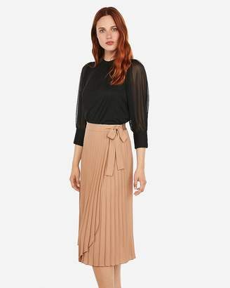 Express High Waisted Pleated Midi Wrap Skirt