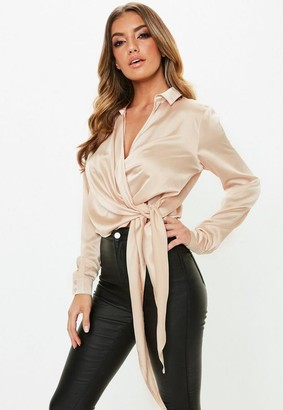 Missguided Gold Satin Tie Side Blouse