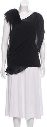 Helmut Lang Feather-Accented Asymmetrical Top