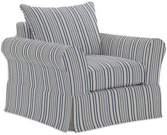 Pottery Barn PB Comfort Roll Arm Slipcovered Armchair - Print and Pattern