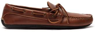Quoddy Camp Moccasin Leather Driving Shoes - Mens - Brown