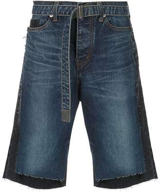 Sacai two-tone denim shorts