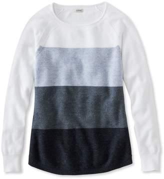 L.L. Bean L.L.Bean Textured Cotton Sweater, Long-Sleeve Colorblock