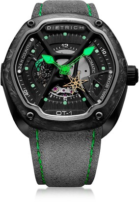 Dietrich OT-1 316L Steel And Forged Carbon Men's Watch w/Green Luminova and Gray Suede Strap