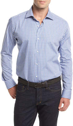 Neiman Marcus Small Check Long-Sleeve Sport Shirt, White/Blue