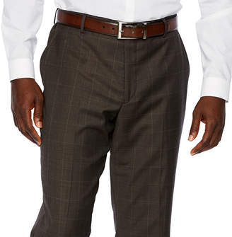STAFFORD Stafford Brown Windowpane Classic Fit Stretch Suit Pants