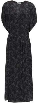 Vince Printed Silk Crepe De Chine Midi Wrap Dress