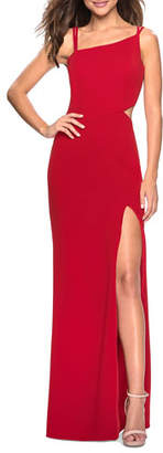 La Femme Asymmetric-Neck Sleeveless Jersey Dress with Strappy-Back & Thigh-Slit