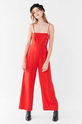 Urban Outfitters Straight-Neck Linen Button-Down Jumpsuit