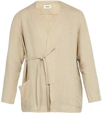 COMMAS Tie-side linen robe shirt
