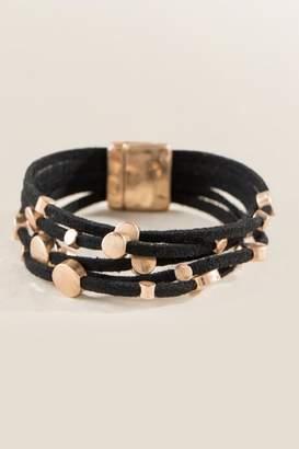 francesca's Samanda Suede Wrap Bracelet - Black