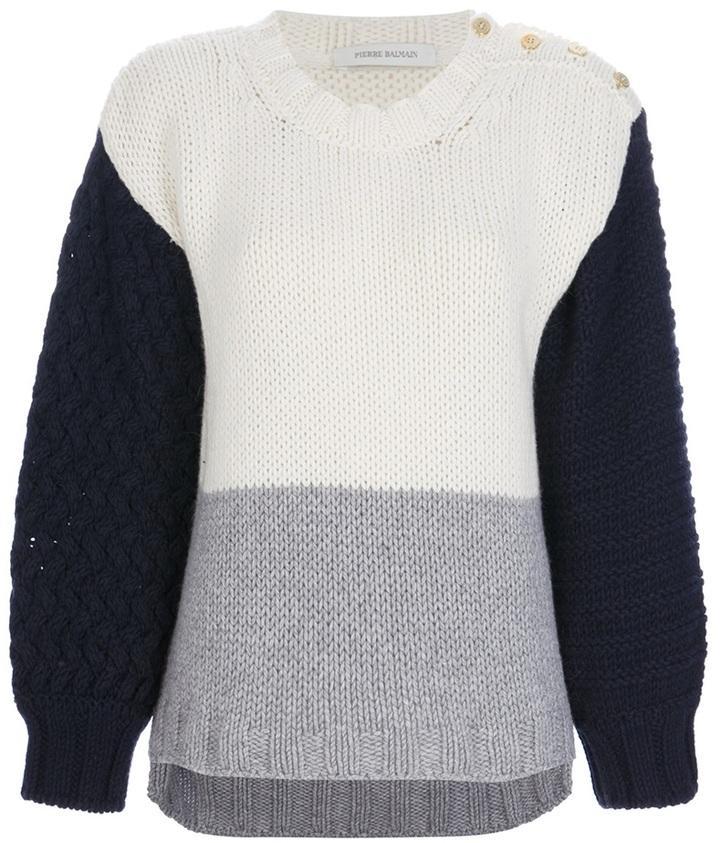 Balmain Pierre colour block sweater