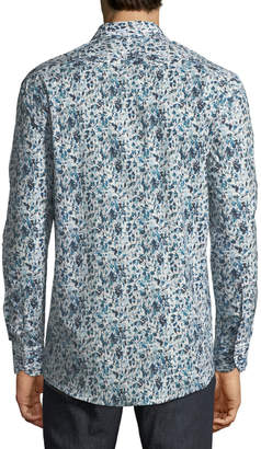Duchamp Floral Watercolor Sport Shirt