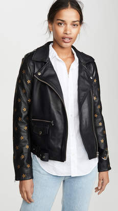 Scotch & Soda Leather Embroidered Star Sleeve Biker Jacket