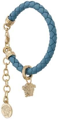 Versace medusa charm leather bracelet