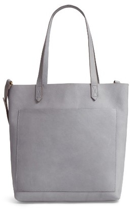 Madewell Medium Leather Transport Tote - Grey $158 thestylecure.com