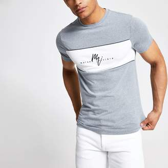 River Island Mens Blue 'Maison Riviera' muscle fit T-shirt
