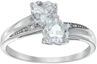 JCPenney FINE JEWELRY Genuine White Topaz and Diamond-Accent Sterling Silver Double-Heart Ring