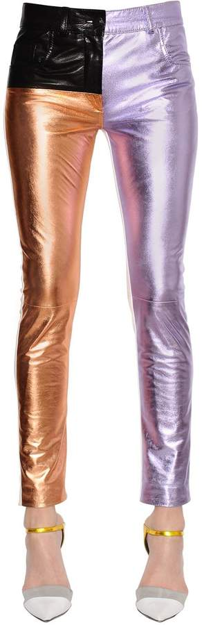 Haider Ackermann Skinny Patchwork Leather Pants