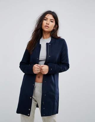 Tommy Hilfiger Longline Wool Blend Popper Coat