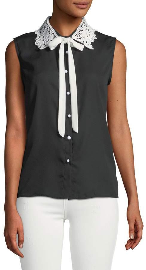 Haute Rogue Lace-Collar Bow-Tie Blouse