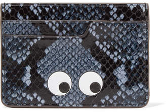 Anya Hindmarch Eyes Python-effect Leather Cardholder - Blue