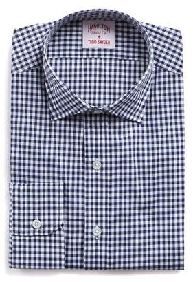 Hamilton White and Navy Gingham Check Poplin Shirt