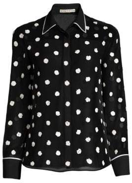 Alice + Olivia Women's Vina Embroidered Blouse - Black Off White - Size XS