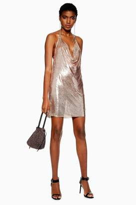 Topshop Rose Gold Chainmail Shift Dress