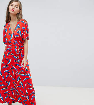 Whistles Exclusive Wrap Jersey Tie Dress In Tulip Print