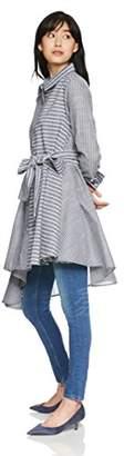 Image (イマージュネット) - [イマージュ] ストライプイレギュラーヘムロングシャツ RW-4894 レディース グレー系 日本 M (日本サイズM相当)