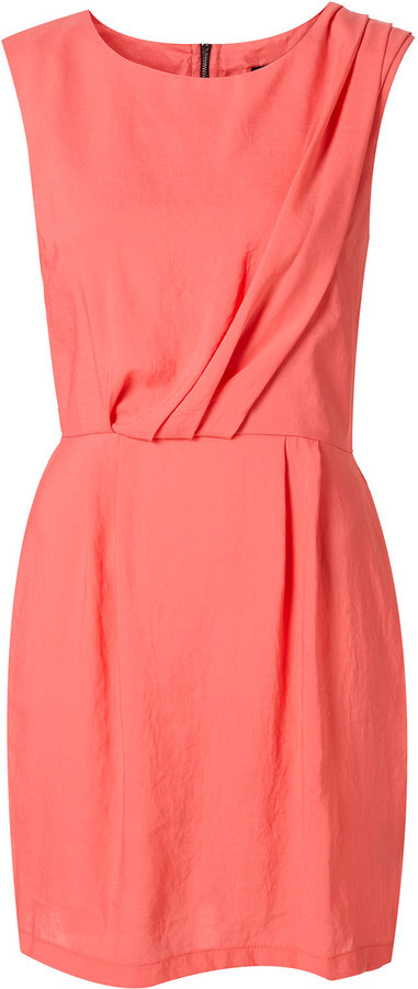 Pink Tuck Detail Sleeveless Dress