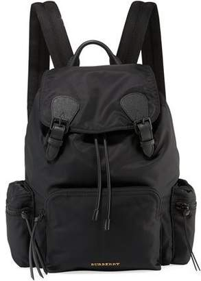 Burberry Men's Rucksack Leather-Trim Nylon Backpack