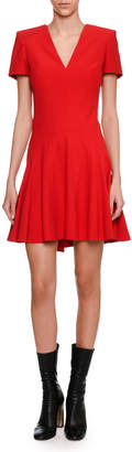 Alexander McQueen Short-Sleeve V-Neck Fit & Flare Dress, Scarlet