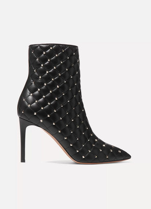 Valentino Garavani The Rockstud Quilted Leather Ankle Boots - Black