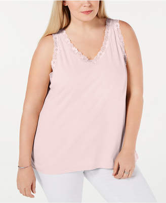 Karen Scott Plus Size Scalloped Lace Tank Top