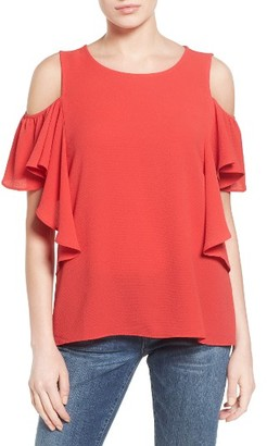 Women's Bobeau Cold Shoulder Ruffle Sleeve Top $49 thestylecure.com