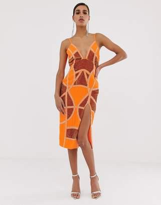 ed21c30ad Asos Design DESIGN sexy pencil midi dress with embellished panels