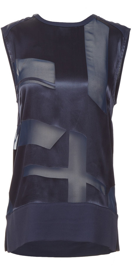 Helmut Lang Sleeveless Silk Cutout Top