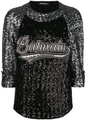 Balmain branded sequin top