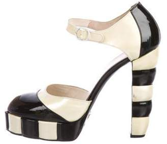 Chanel Patent Leather Two-Tone Strap Pumps Black Patent Leather Two-Tone Strap Pumps